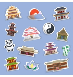 Chinese house stickers vector image vector image