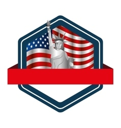 liberty statue with usa flag icon vector image