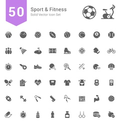 Sport and Fitness Solid Icon Set vector image vector image