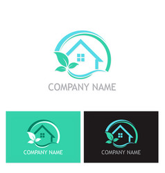 eco house plant logo vector image