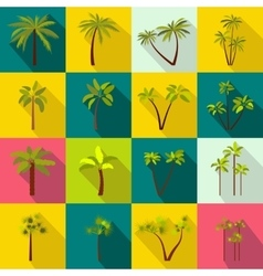 Palm tree icons set flat style vector image vector image