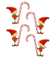Red Elf Holding Candy Cane vector image
