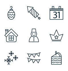 set of 9 happy new year icons includes snow vector image vector image