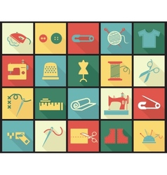 Sewing equipment icons set with thimble needle vector image