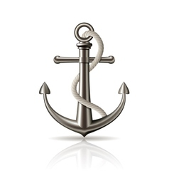 Anchor with rope on white background vector image