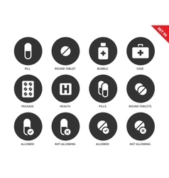 Pills icons on white background vector image