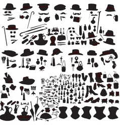 Set of silhouettes accessories art nouveau vector