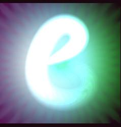 single light blue neon letter b of vector image vector image