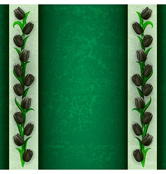 abstract grunge green background with black tulips vector image
