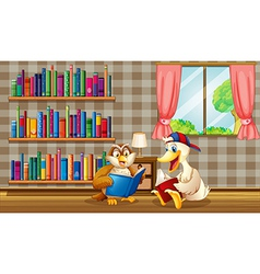An owl and a duck reading inside the house vector image vector image