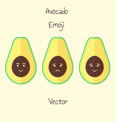 avocado emoji set in flat style isolated sad and vector image