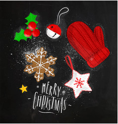 Christmas elements glove chalk vector