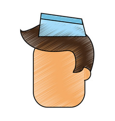 Color pencil cartoon faceless male food seller vector