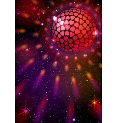 Disco Ball with Hearts background vector image