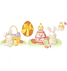 Easter bunny and chicken vector image