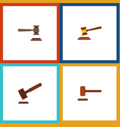flat icon lawyer set of hammer justice legal and vector image