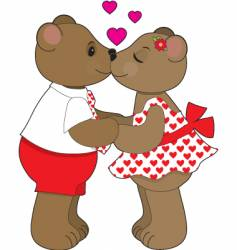 kissing bears vector image