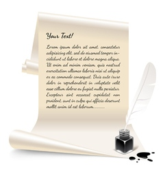 Paper with an inkwell and feather vector image vector image