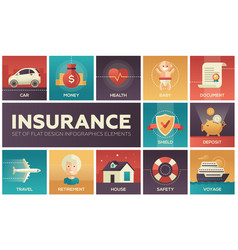 types of insurance - modern flat design vector image vector image