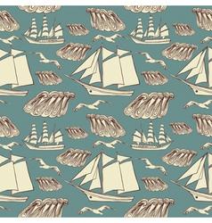 Vintage Sailing Boat Pattern vector image