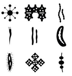 virus icon set vector image vector image