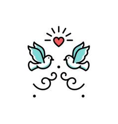 wedding doves love birds icons wedding couple vector image vector image
