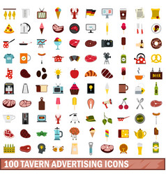 100 tavern advertising icons set flat style vector image vector image