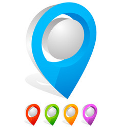 3d map pin map marker address location icon vector image