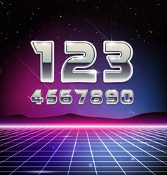 80s Retro Sci-Fi Digits vector