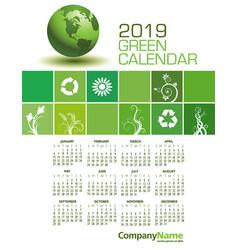 an elegant 2019 green calendar vector image