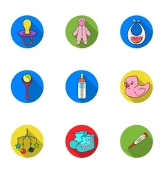 Baby born set icons in flat style Big collection vector image