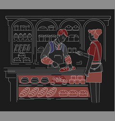 bakery shop bread and baguette seller and woman vector image