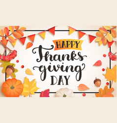 banner for happy thanksgiving day vector image