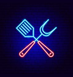 Barbecue spatula neon sign vector