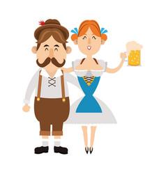 Bavarian people oktoberfest cartoon vector