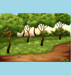 beautiful green nature landscape vector image