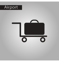 black and white style icon suitcase on trolley vector image