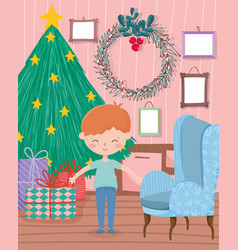 boy living room tree wreath sofa gifts frames wall vector image