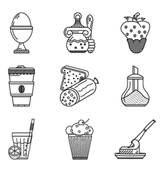 Breakfast menu black line icons vector image