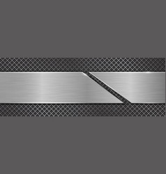 brushed metal texture steel plate on perforated vector image