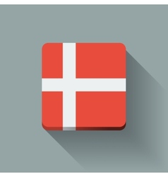 Button with flag of Denmark vector