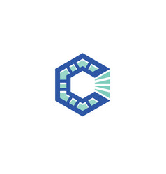 c letter hexagon logo vector image