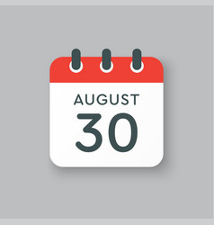 Calendar icon day 30 august date days year vector