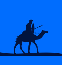 Camel cavalry armed rider on a vector