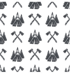 Camping pattern with backpack trees and pine cone vector