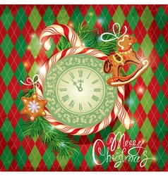 Card with watch candy xmas gingerbread vector image