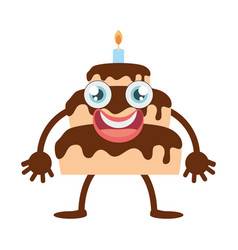 Cartoon chocolate cake party vector