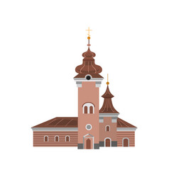 Cartoon church of catholic denomination decorated vector
