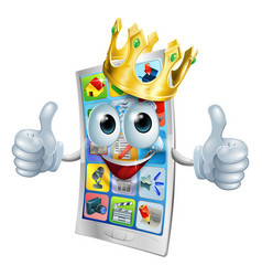 cell phone cartoon king vector image