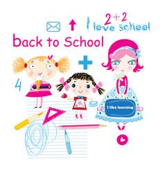 Cheerful little schoolgirls with subjects vector
